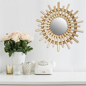 Round mirror in natural rattan