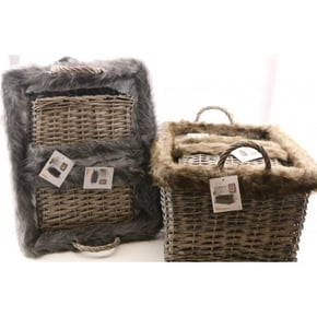 SET OF 3 Fur Basket