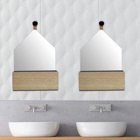 Mirror with Wood Storage