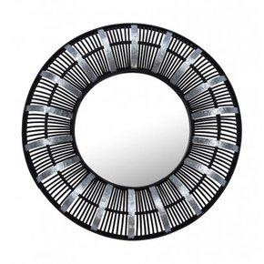 Miroir rond en bambou noir...