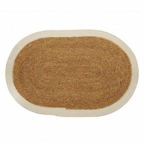 Oval carpet in jute white...