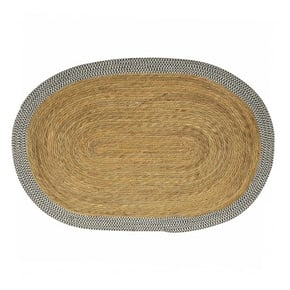 Oval jute carpet with...