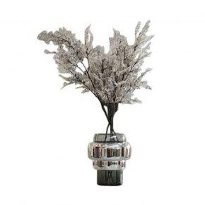 Vase en verre gris et doré...