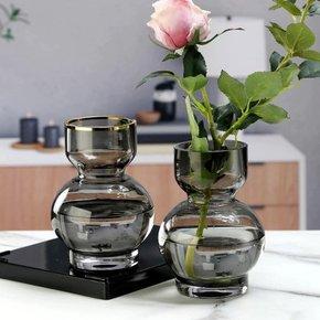 Vase en verre gris D8xH16 cm