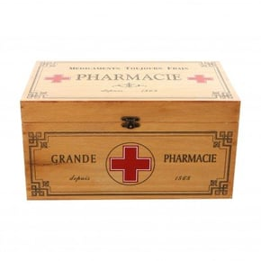 Boîte à pharmacie en bois...