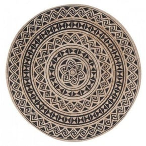 Round jute rug with black...