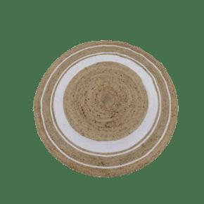 White circular printed jute...