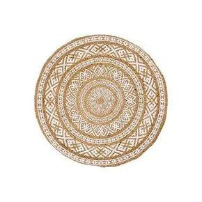 Round jute rug with white...