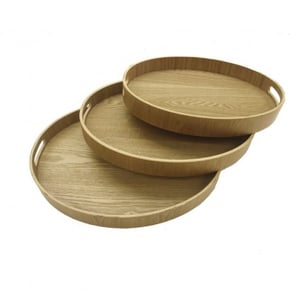 Set of 3 oval bamboo trays...