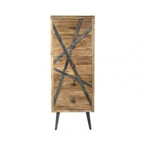 Wooden shelf with patterned...